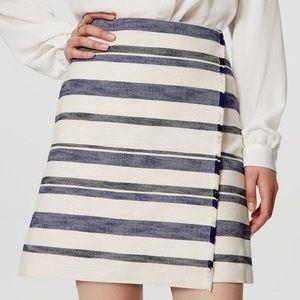 LOFT Faux Wrap Fringe Texture Stripe Blanket Skirt